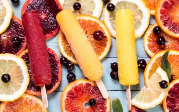 Картинка еда мороженое +десерты грепфрут фруктовый лед апельсин лимон