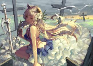 Картинка аниме ангелы +демоны кресты девушка цветок tamarashi рожки меч лилия