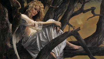 обоя фэнтези, ангелы, арт, крылья, ангел, дерево, женщина