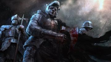обоя фэнтези, люди, кровь, оружие, броня, воин, взгляд