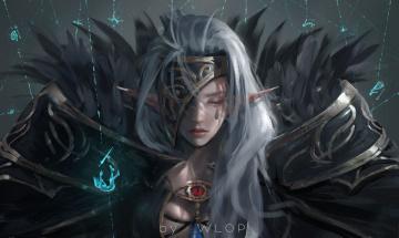 обоя фэнтези, эльфы, магия, девушка, эльф, wlop, аниме, воин, броня, dungeon, and, fighter