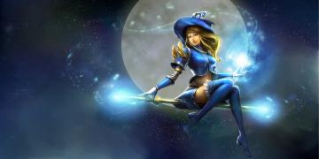 Картинка фэнтези магия улыбка небо девушка арт ведьма аниме шляпа луна посох полет