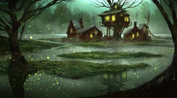 обоя фэнтези, пейзажи, вода, арт, вечер, сказка, лес, болото, фантазия, дом