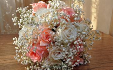 обоя цветы, букеты,  композиции, праздник, свадебный, букет, розы