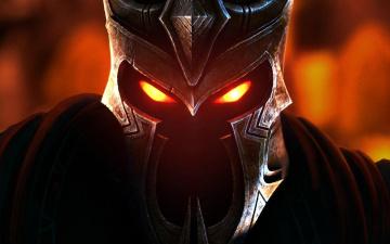 обоя фэнтези, нежить, голова, демон, шлем, глаза