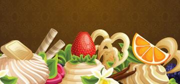 обоя векторная графика, еда , food, крем, ягоды, вектор