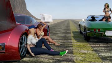 обоя 3д графика, люди-авто, мото , people- car ,  moto, девушки, фон, взгляд