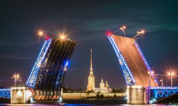 обоя dvortsovyy bridge, города, санкт-петербург,  петергоф , россия, шпиль, мост, река