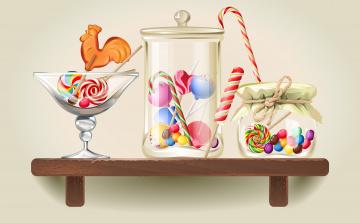 обоя векторная графика, еда , food, леденцы, полка, карамель, банки