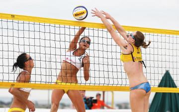 обоя спорт, волейбол, девушки, пляжный