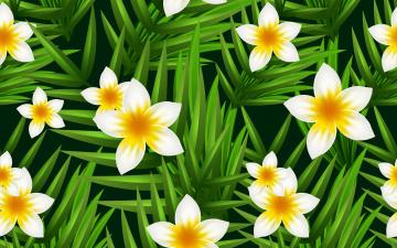 обоя векторная графика, цветы , flowers, фон, цветы, листья