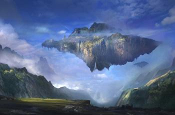 Картинка фэнтези пейзажи горы пейзаж остров арт sergey zabelin летающий