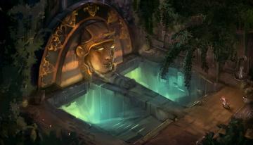 обоя фэнтези, иные миры,  иные времена, голова, арт, бег, человек, храм, свечение, ступени, статуя
