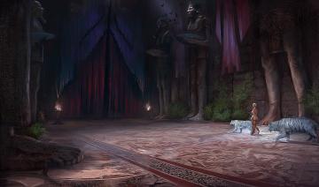 обоя фэнтези, иные миры,  иные времена, жрица, тигры, статуя, женщина, зал, дворец, арт