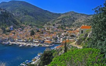 Картинка греция ano symi города пейзажи дома море