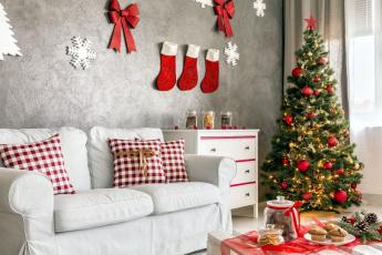 обоя праздничные, Ёлки, диван, комната, елка, украшения