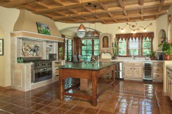 Картинка интерьер кухня стол плита