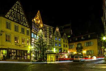 Картинка кохем+германия города кохем+ германия cochem ночь дома елка год новый площадь огни