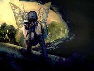 обоя фэнтези, фотоарт, противогаз, крылья, фон, девушка