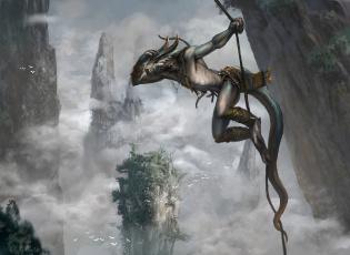 обоя фэнтези, существа, веревка, скала, фон, существо