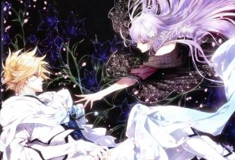 обоя аниме, reine des fleurs, девушка, парень