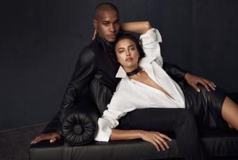 обоя разное, мужчина женщина, ирина, шейк, модель, парень, диван, куртка, рубашка, юбка