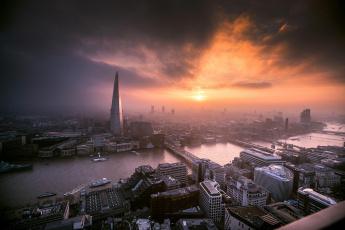обоя города, лондон , великобритания, закат, лондон