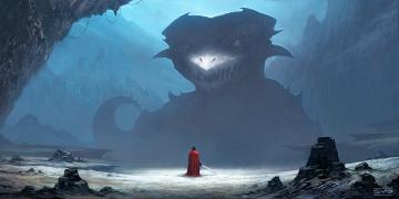 Картинка фэнтези драконы vovoomz камни чудовище меч мужчина дракон арт оружие горы