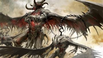 обоя фэнтези, демоны, крюк, цепи, крылья