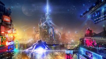 обоя фэнтези, иные миры,  иные времена, будущее, мегаполис, фон