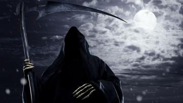 обоя фэнтези, нежить, луна, ночь, коса, балахон, смерть, дождь, тучи