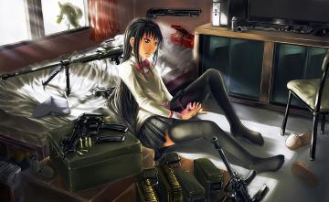 обоя аниме, mahou shoujo madoka magika, фон, взгляд, девушка