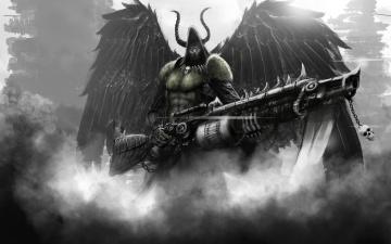 обоя фэнтези, демоны, рога, демон, дым, крылья, оружие