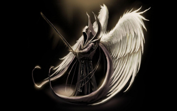 обоя фэнтези, нежить, крылья, меч, балахон, ангел