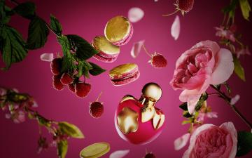 обоя разное, косметические средства,  духи, парфюм, флакон, духи, розы, nina, picci, аромат