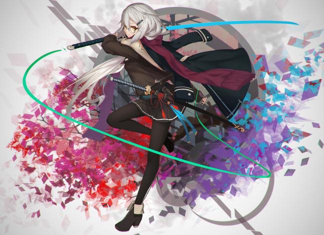 Обои картинки фото аниме, оружие,  техника,  технологии, девушка, меч