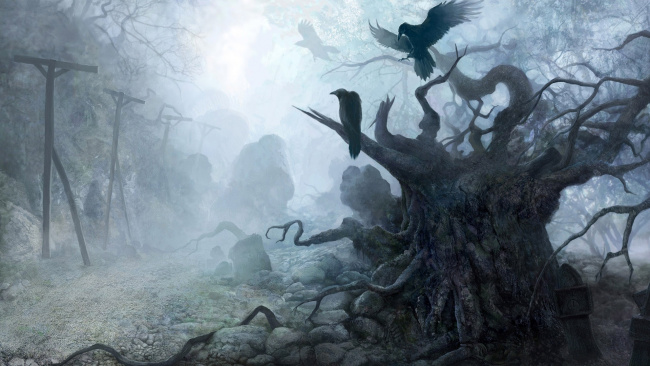 Обои картинки фото фэнтези, пейзажи, камни, деревья, вороны, туман