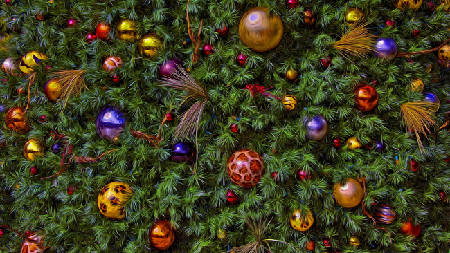 Обои картинки фото разное, компьютерный дизайн, ёлочные, игрушки, новый, год, хвоя, обработка, ёлка, рождество, украшения, новогоднее, настроение, фон, ель, праздник, ёлочка, шарики