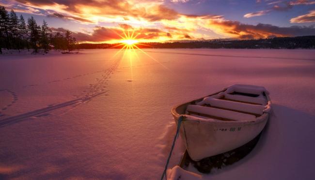 Обои картинки фото корабли, лодки,  шлюпки, зима, снег, закат