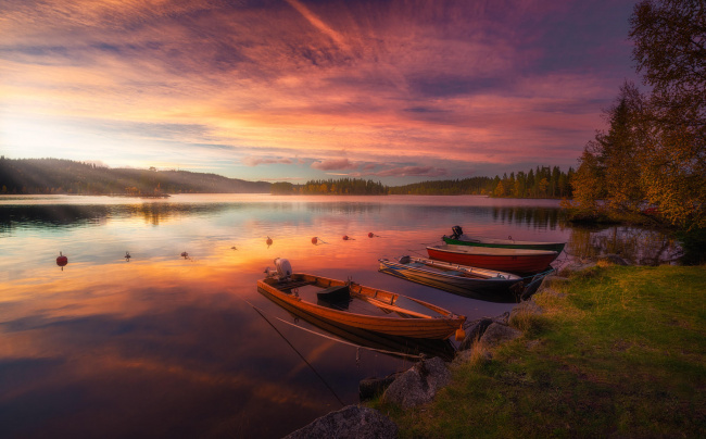 Обои картинки фото корабли, лодки,  шлюпки, рингерике, река, закат, норвегия