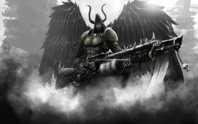 Обои картинки фото фэнтези, демоны, рога, демон, дым, крылья, оружие