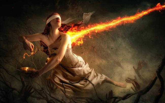 Обои картинки фото фэнтези, фотоарт, весы, колдовство, руки, девушка, магия, огонь