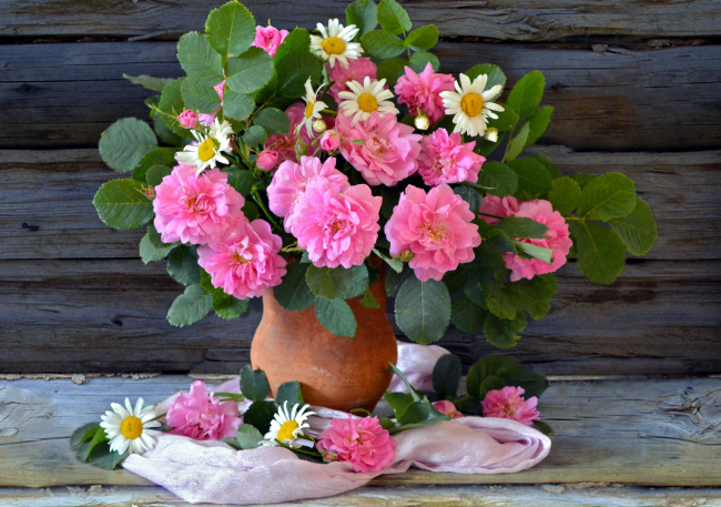Обои картинки фото цветы, букеты,  композиции, ромашки, розы