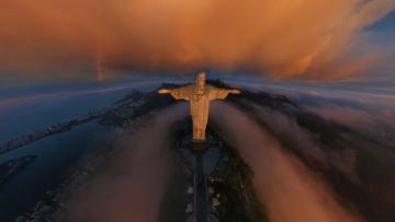 Картинка рио де жанейро города бразилия панорама облака туман статуя христа