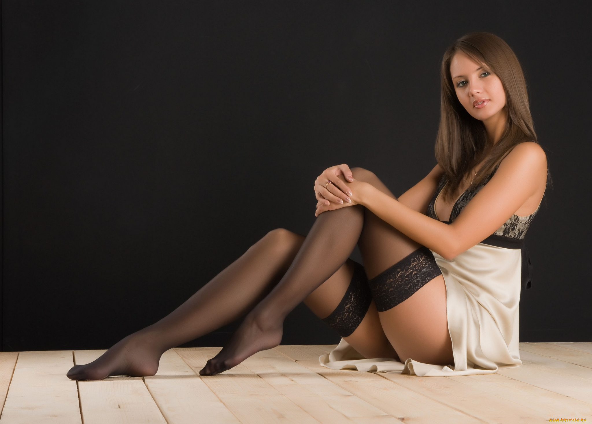 Stockings model Anna Joy has her tiny tits revealed in red underwear  1034348