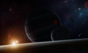 обоя космос, арт, планеты, звезды, галактика, вселенная