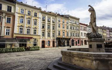 Картинка города -+улицы +площади +набережные город львов центральная площадь рынок