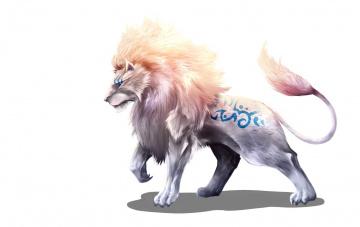 обоя рисованное, животные,  сказочные,  мифические, лев