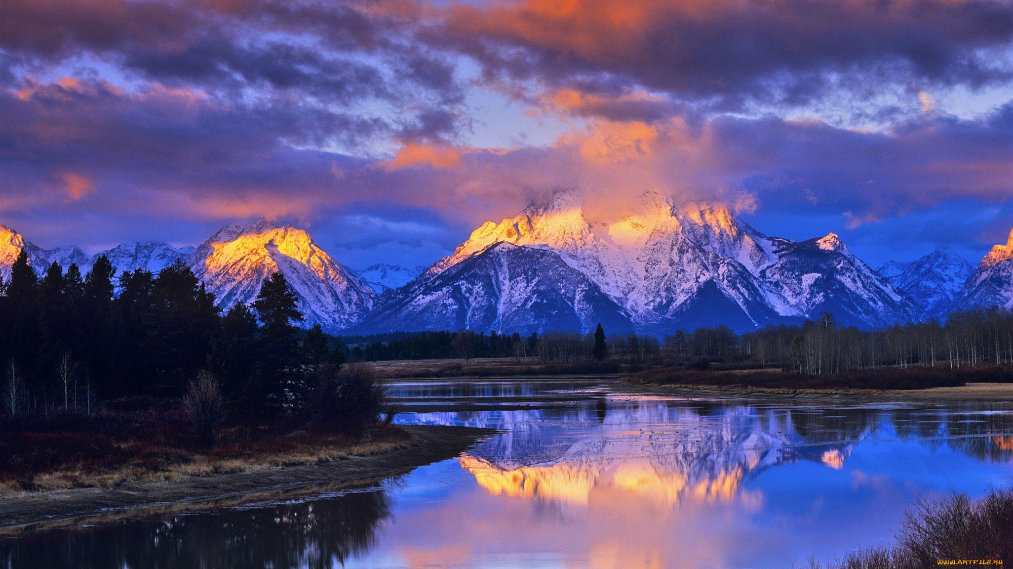 природа деревья Озеро отражение горы облака скачать