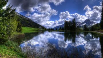 Картинка природа реки озера горы вершины озеро лес